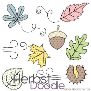 Herbst Doodle Stickdateien Set von KerstinBremer.de