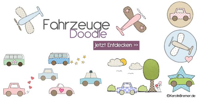 Fahrzeuge Doodle Stickdateien von KerstinBremer.de