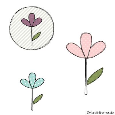 Blumen Doodle Stickdateien Set