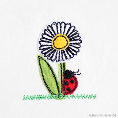 Marienkäfer an Blume Doodle Stickdatei